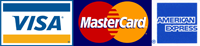 Credit Cards Accepted - Visa MasterCard Amex
